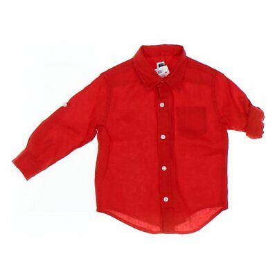 Janie and Jack Baby Boys Shirt, size 18 mo,  red,  linen