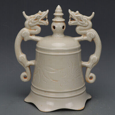 """8"""" Chinese antique Porcelain Song ding kiln carved flower double dragon bell"""
