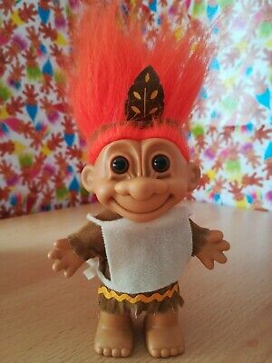 Russ Troll Indian Native American Retro Vintage Collectable 90s Toy Orange