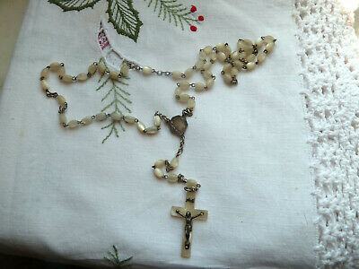Antique French Rosary Pearl beads Pearl Heart and Cross