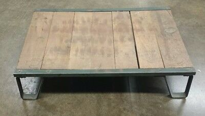 Antique Vintage Factory Pallet Wood Iron Reclaimed Shipping Skid Steel Industry