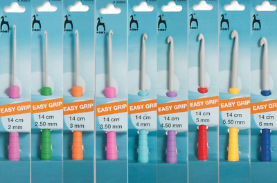 PONY Easy Grip Crochet hook 14cm length various sizes colour coded handles