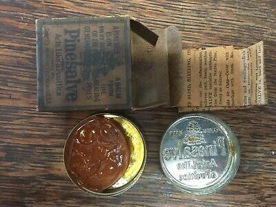 Antique Medical Tin In Box W/Contents Quack Medicine Pinesalve Pineule Medicine