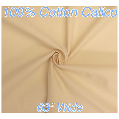 """Medium Weight CALICO 100% Cotton 63""""/160cm Wide **£15.75 for 5 METRES**"""