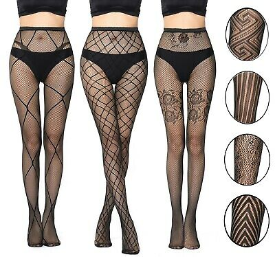 Womens Sexy Black Patterned Fishnet Net Tights Ladies Pattern Floral Stripes UK