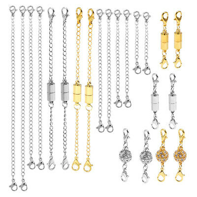 22PC Magnetic Lobster Clasps Cylindrical DIY Round Extension Chain for Necklace