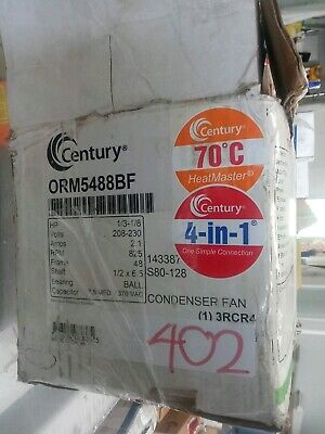 CENTURY ORM5488BF Condenser Fan Motor,1/8 to 1/3 HP,825rpm