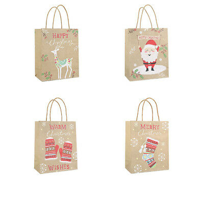 12pcs Gift Christmas Paper Bags Biscuits Portable Gift Favors Holders for Bakery