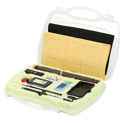 Traditional Chinese Calligraphy Set Brush Pen Ink Water Writing Paper Tool Box