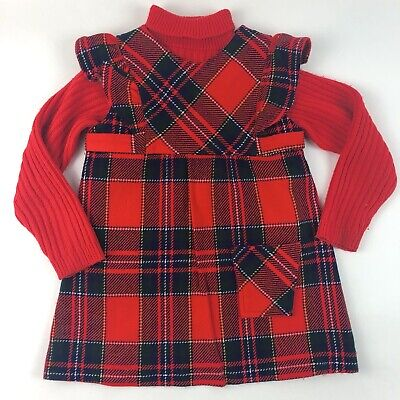 Vintage JCPenney Toddler Sweater Jumper Dress Outfit Set Red Plaid Size 4