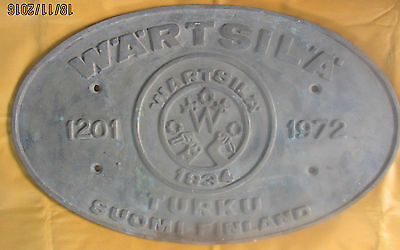 Vintage Ship builders Plaques/Plates WARTSILA NO:1201, 1972 Best For Collector