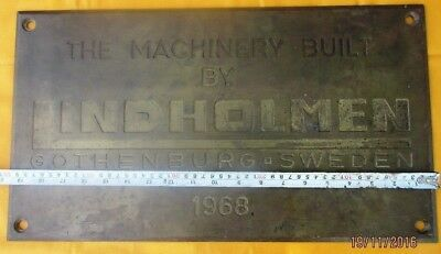 Vintage Ship/Engine Builder Brass ORIGINAL Plaque/Plate LINDHOLMEN 1968