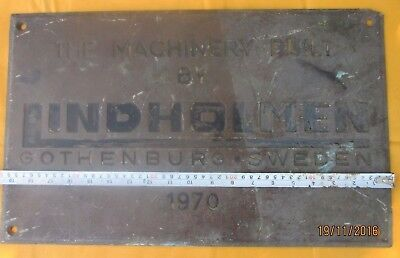 Vintage Ship/Engine Builder Brass ORIGINAL Plaque/Plate LINDHOLMEN 1970