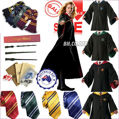 Harry Potter Hogwarts Halloween Robe Cape Cloak Scarf Tie  School COS Costumes