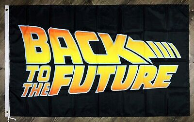 Back To The Future Logo 3x5 ft 1980's Black Flag Banner Marty McFly Man-Cave New