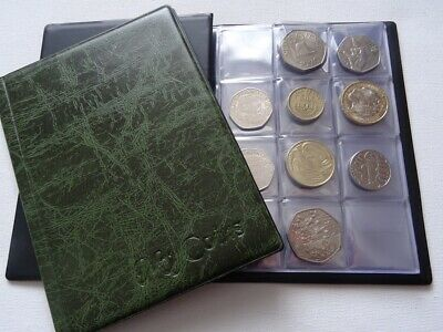 Coin Album 96 Coins Perfect for 50p,£2,£1,10p (Storage Book,Holder,Folder) GREEN