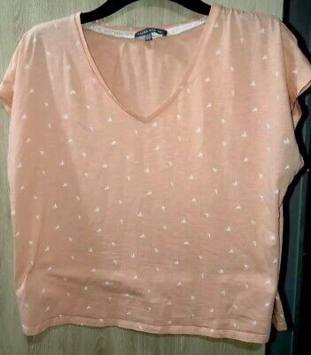 Laura Ashley Size 16 Boat Print Top Tee Shirt Blouse Peach Lace Edge Lightweight