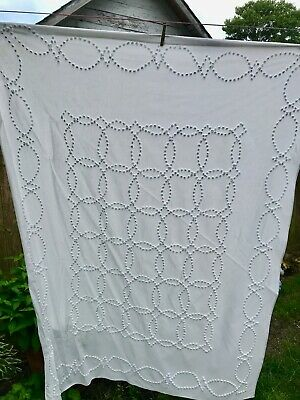 Vintage Country Farmhouse White Candle Wicking, Summer Bed Coverlet, Bedspread