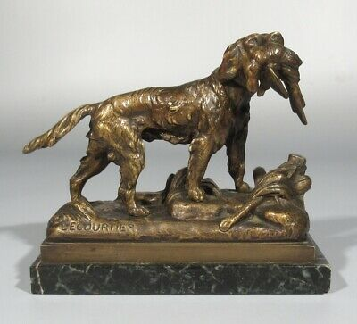 Antique French Bronze Statue, Hunting Dog, Pheasant, Signed Prosper Lecourtier