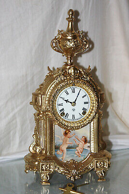 ANSONIA ANTIQUE   MANTEL/ SHELF -GOLD PLATED CLOCK  C/1880--Restored--