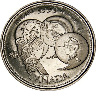 1999 January CANADA 25 Cent  Millennium Series Coin From Mint Roll UNC