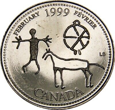 1999 February CANADA 25 Cent  Millennium Series Coin From Mint Roll UNC
