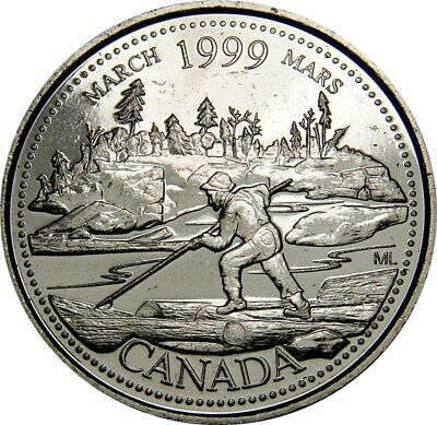 1999 March CANADA 25 Cent  Millennium Series Coin From Mint Roll UNC