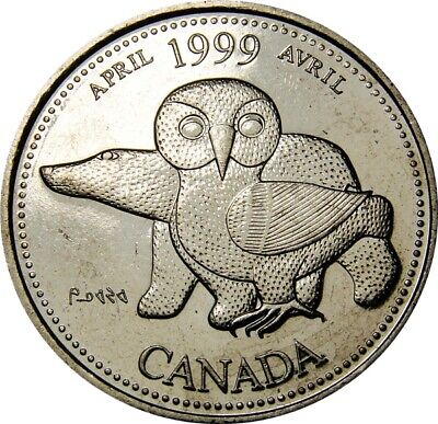 1999 April CANADA 25 Cent  Millennium Series Coin From Mint Roll UNC