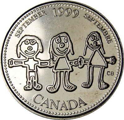 1999 September CANADA 25 Cent  Millennium Series Coin From Mint Roll UNC