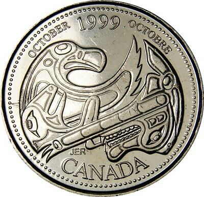 1999 October CANADA 25 Cent  Millennium Series Coin From Mint Roll UNC