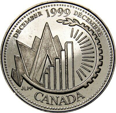 1999 December CANADA 25 Cent  Millennium Series Coin From Mint Roll UNC