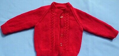 Baby Hand Knitted Jacket Red Fits New Born To 3 Months (126)