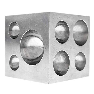 Dapping Block Square With Polished High Carbon Steel Cavities, 2 Inch X 2 I X3W3