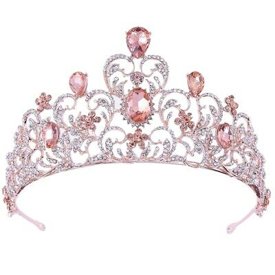 7.3Cm High Pink Rose Gold Heart Crystal Tiara Crown Wedding Party Prom Page S5M2