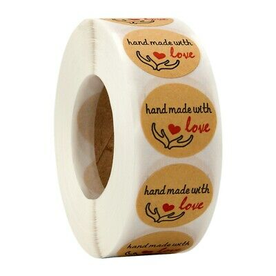 Handmade With Love Stickers, 1 Inch Round Handmade With Love With Red Heart P5F1