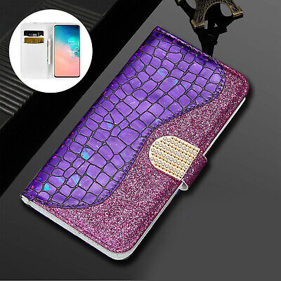 New Glitter Bling Leather Wallet Flip Stand Cover Case for Apple iPhone Samsung