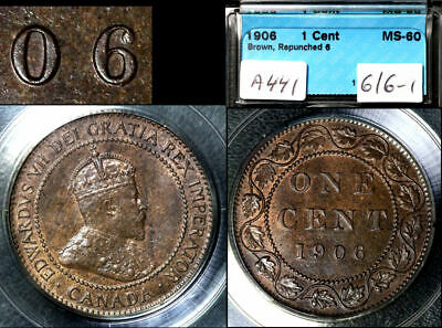 ELITE VARIETIES CANADA Large Cent 1906 Repunched 6/6 MS60 VERY RARE (a441)