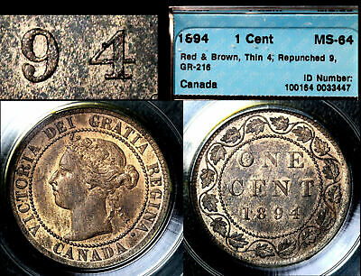 ELITE VARIETIES CANADA Large Cent 1894 Repunched 9/9 CCCS MS64 TOP (a424)