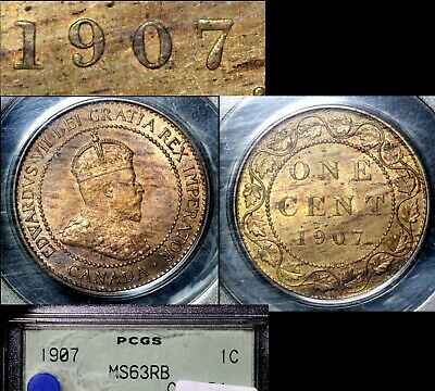ELITE VARIETIES CANADA Large Cent 1907 Repunched 7/7 Rt/Lt - MS63 RARE (a448)