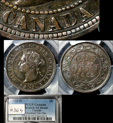 ELITE VARIETIES CANADA Large Cent 1882H Double Die Obverse PCGS XF $3000 (a364)