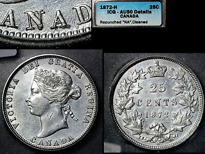 ELITE VARIETIES CANADA 25 cents - 1872H Repunched N/N CANADA - AU50 (a525)