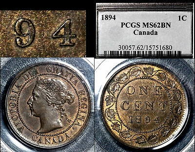 ELITE VARIETIES CANADA Large Cent 1894 Repunched 9/9 PCGS MS62 (a425)