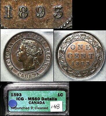 ELITE VARIETIES CANADA Large Cent 1893 Repunched 9 Hi/Lo - ICG MS60 (a421)