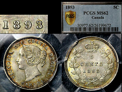 ELITE VARIETIES CANADA 5 cents - 1893 Repunched 9/9 - PCGS MS62 (a474)