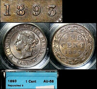 ELITE VARIETIES CANADA Large Cent 1893 Repunched 9 - CCCS AU58 (a418)
