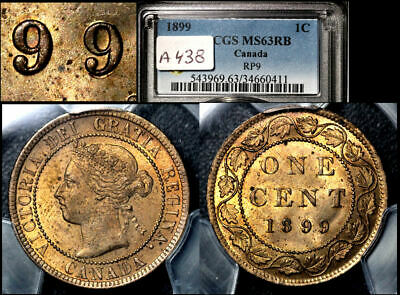 ELITE VARIETIES CANADA Large Cent 1899 Repunched 9/9 PCGS MS63 (a438)