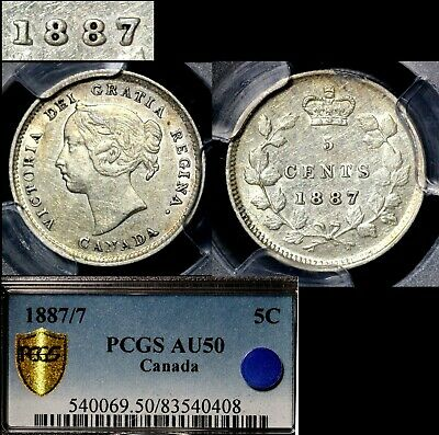 ELITE VARIETIES CANADA 5 cents - 1887 Strongly repunched 7/7 - PGCS AU50 (a466)