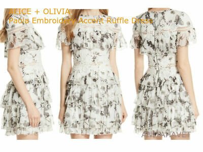 ALICE AND OLIVIA Paola Embroidery Accent Ruffle Dress in Floral Crown Size 8