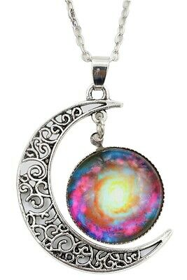 Women Galactic Glass Cabochon Pendant Crescent Moon Necklace(Color numbers: W9L8