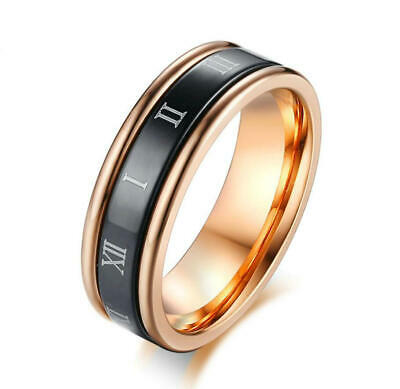 Women Rose Gold Plating Spinner Ring Roman Numerals Turnable Band 6MM Size 6-9